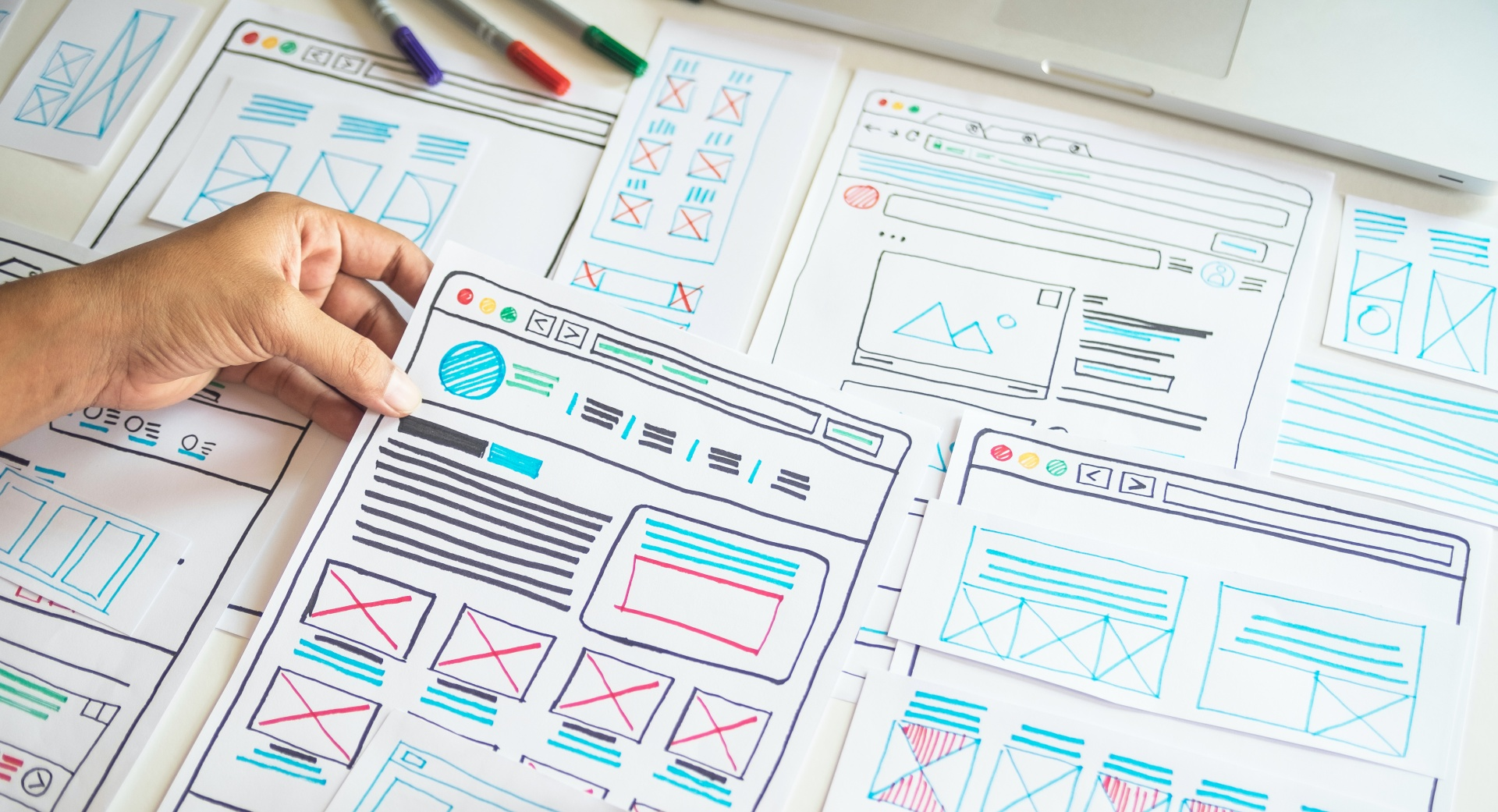 Hand drawn web design templates