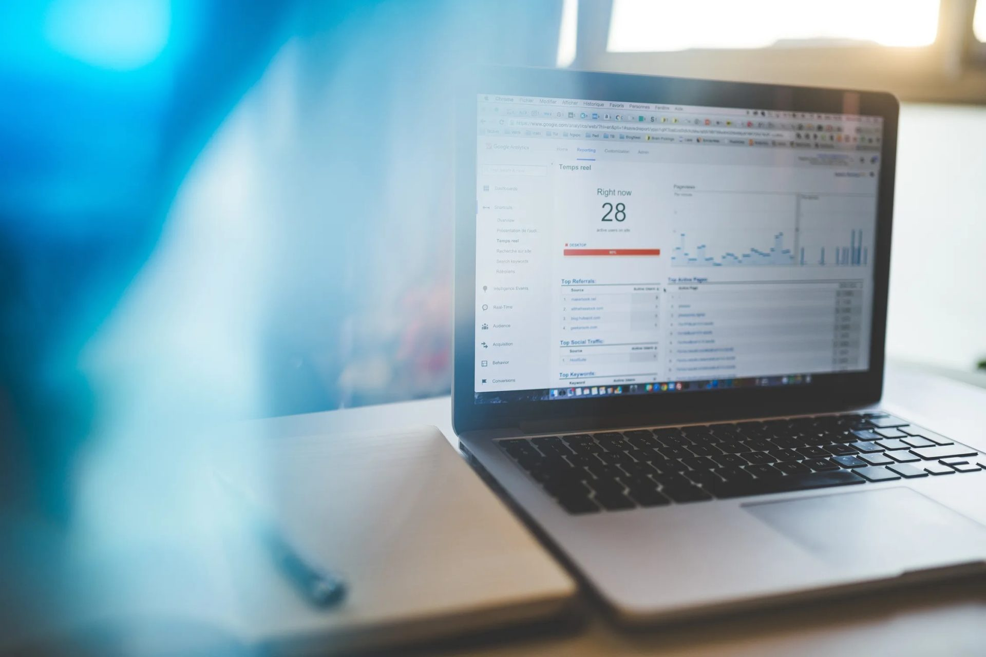 Laptop with Google Analytics open