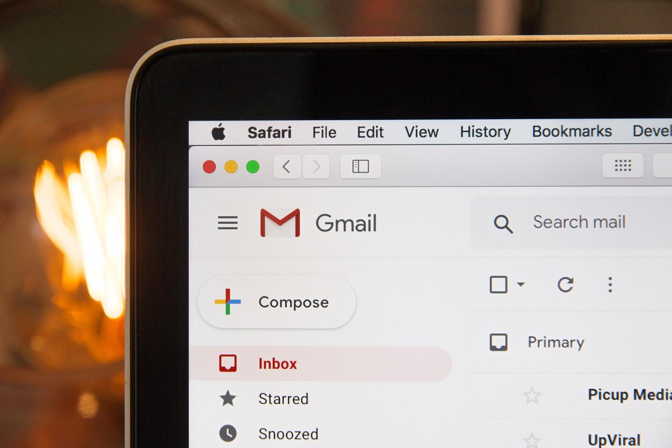Gmail open on laptop